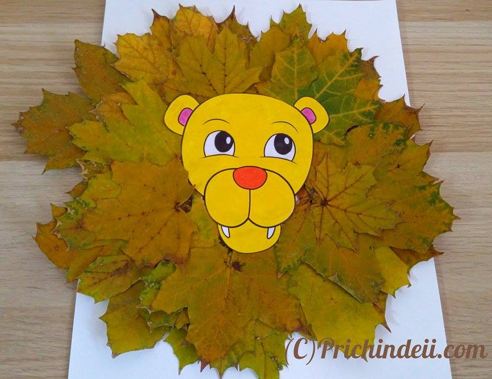 lion leaves craft